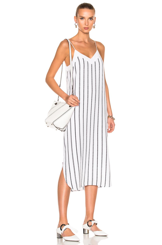 Equipment Dian Dress in Stripes,White