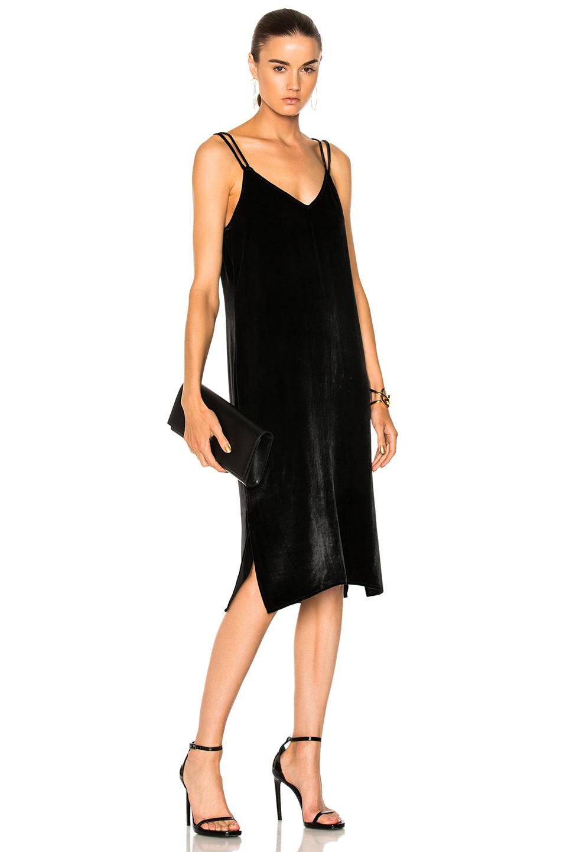 Equipment Nia Velvet Slip Dress in Black