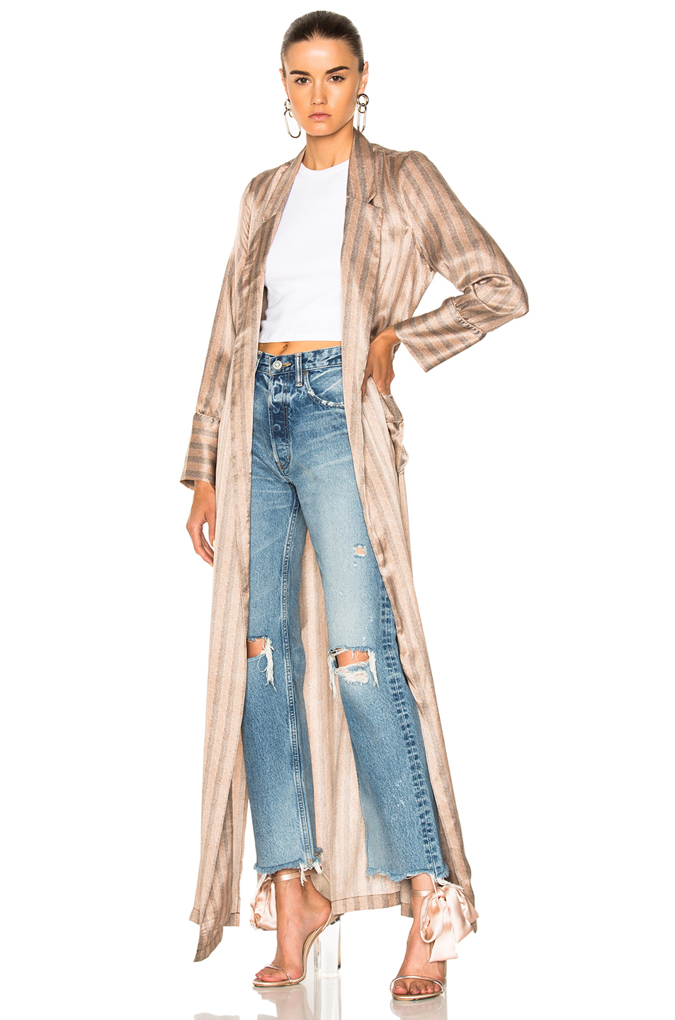 Equipment Florian Trench Coat in Gray,Neutrals,Stripes