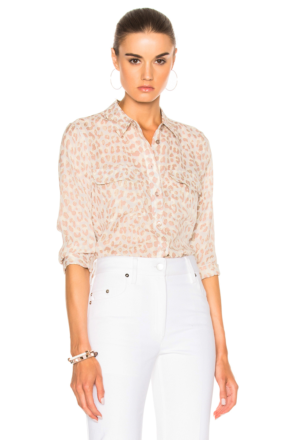 Equipment Cropped Sleeve Signature Top in Abstract,Animal Print,Neutrals