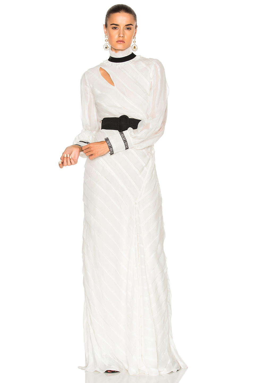 Erdem FWRD EXCLUSIVE Hollie Ripped Silk Voile Dress in White