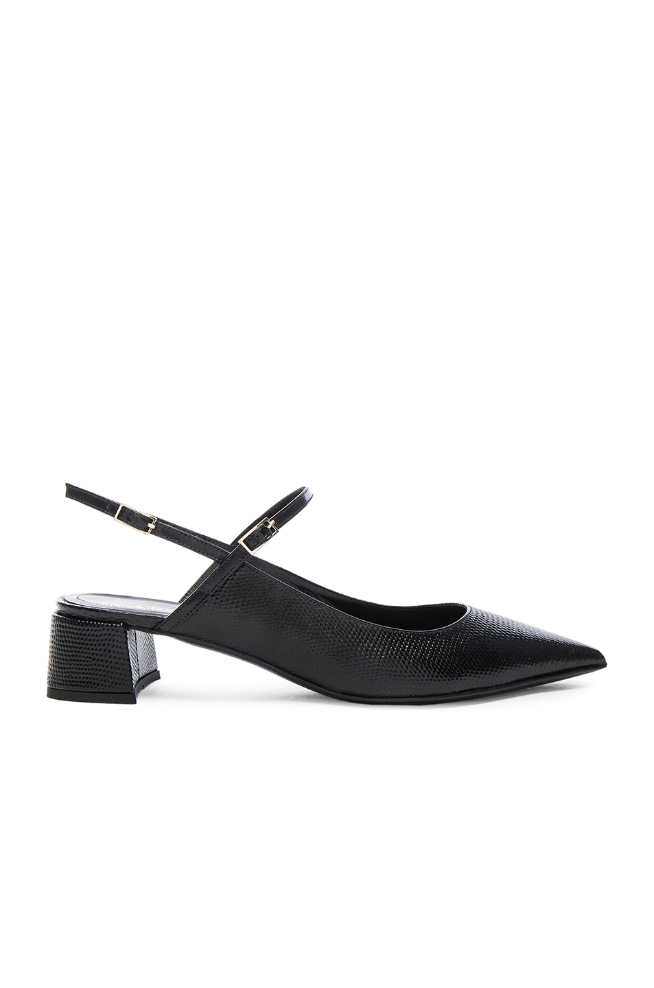 Erdem Lizard Embossed Leather Aerin Flats in Black