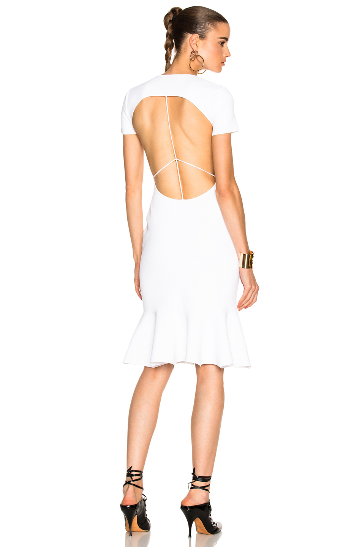 Esteban Cortazar Peace Sign Short Sleeve Dress in White