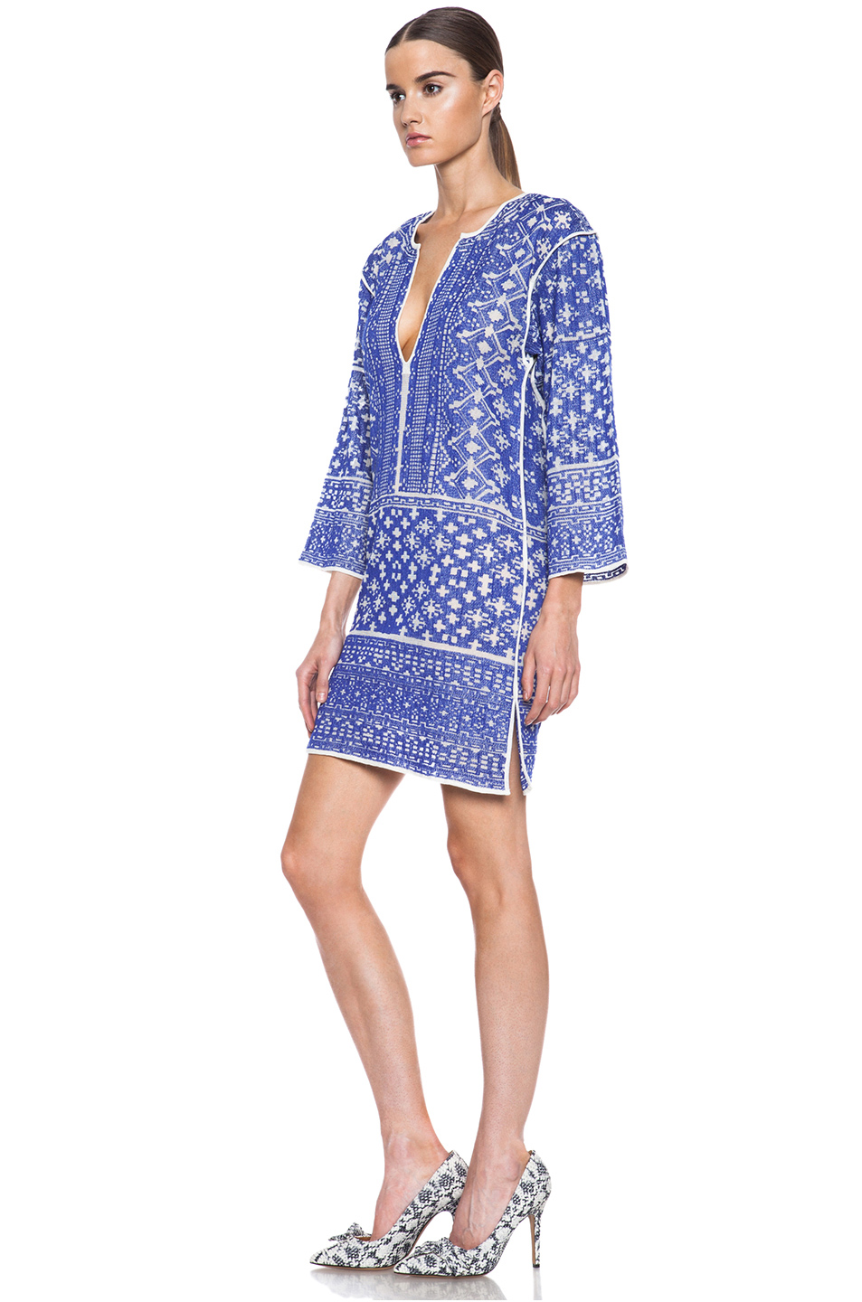 isabel marant etoile bloom knit dress in blue fwrd. Black Bedroom Furniture Sets. Home Design Ideas