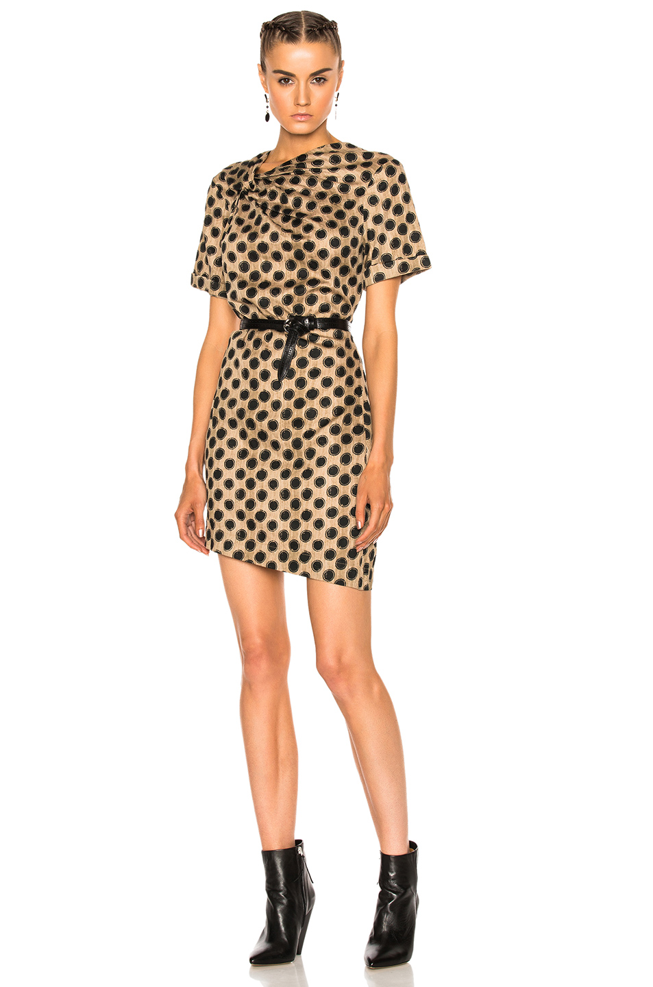 Isabel Marant Etoile Jade Printed Cotton Dress in Abstract,Black,Brown,Neutrals
