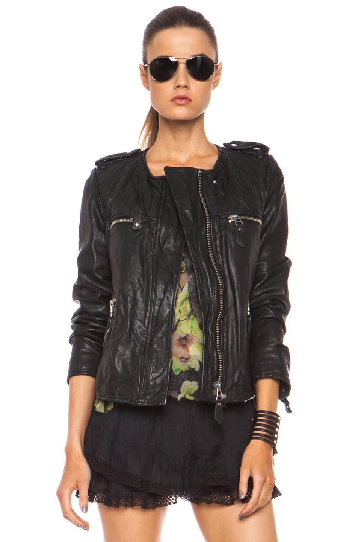 isabel marant etoile kady washed leather jacket in black 1. Black Bedroom Furniture Sets. Home Design Ideas