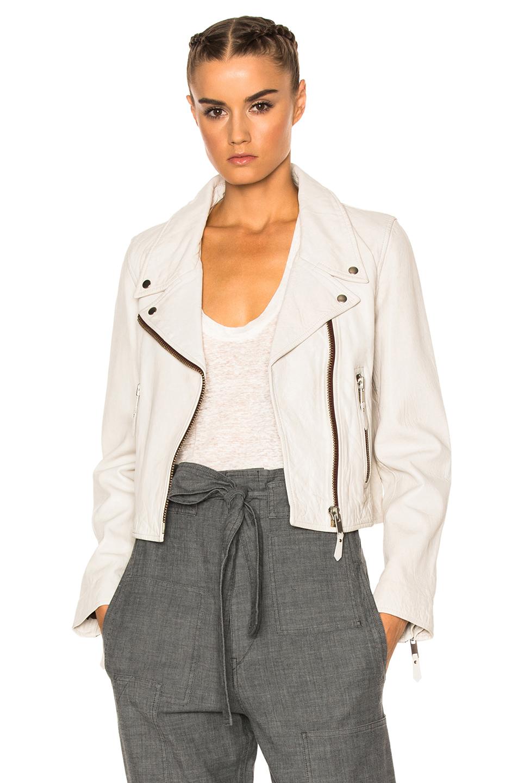 Isabel Marant Etoile Aken Washed Leather Jacket in White,Gray
