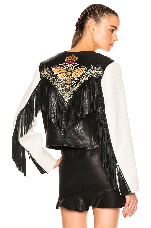 Isabel Marant Etoile Kirk Embroidered Bubble Leather Jacket in Black,White