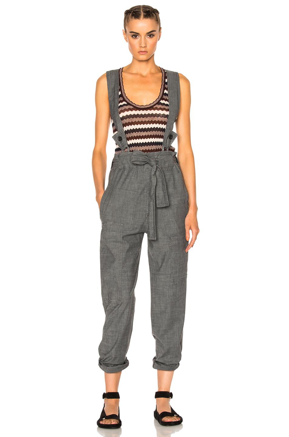 Isabel Marant Etoile Adrien Chambray Overalls in Gray
