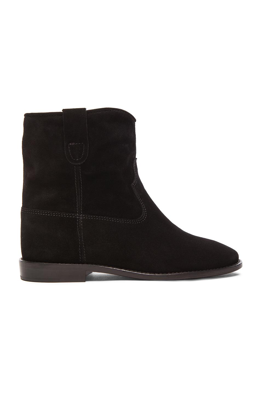 Isabel Marant Etoile Crisi Calfskin Velvet Boots in Black