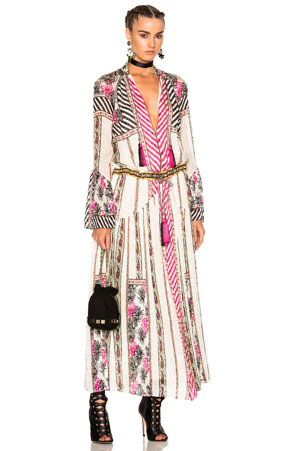 Etro Saffron Dress in Abstract,Black,Pink,White