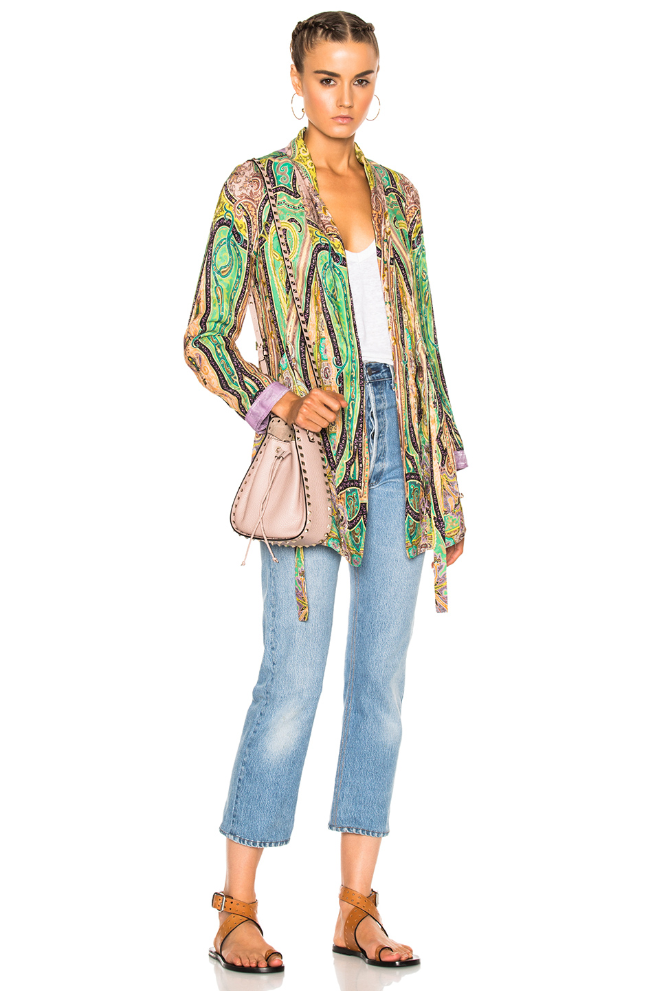 Etro Violante Printed Jacket in Abstract,Green,Purple