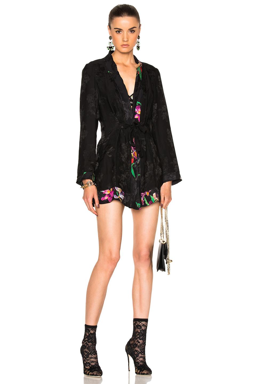 Etro Silk Jacket in Black,Floral