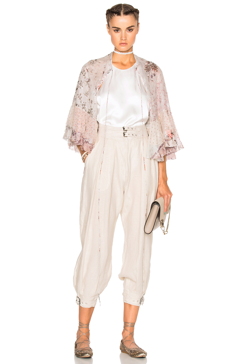 Etro Margot Cape in Neutrals,Floral