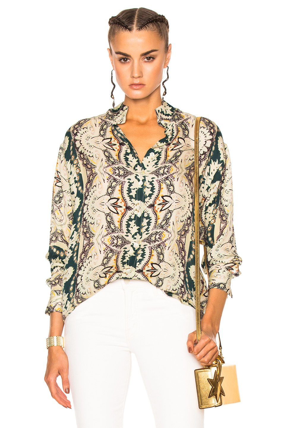 Etro Printed Blouse in Floral,Green