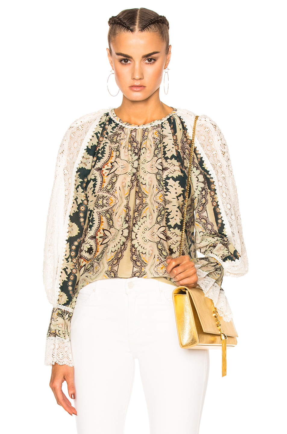Etro Printed Voluminous Blouse in Floral,Green