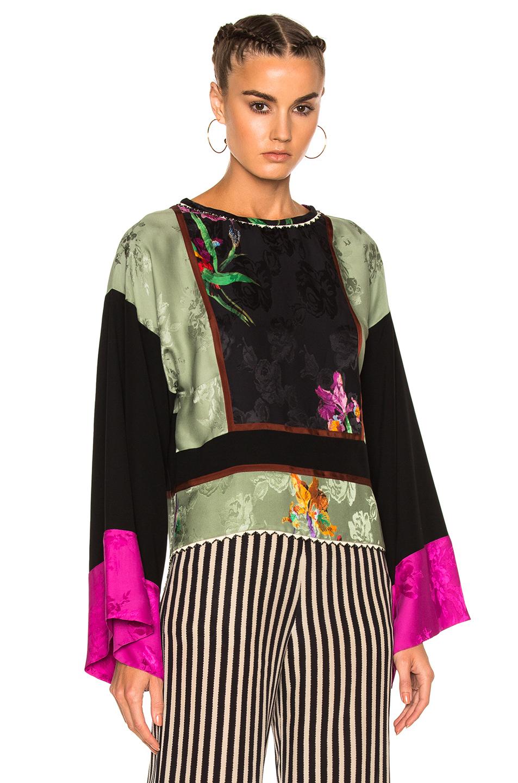 Etro Printed Long Sleeve Top in Black,Floral,Green,Pink