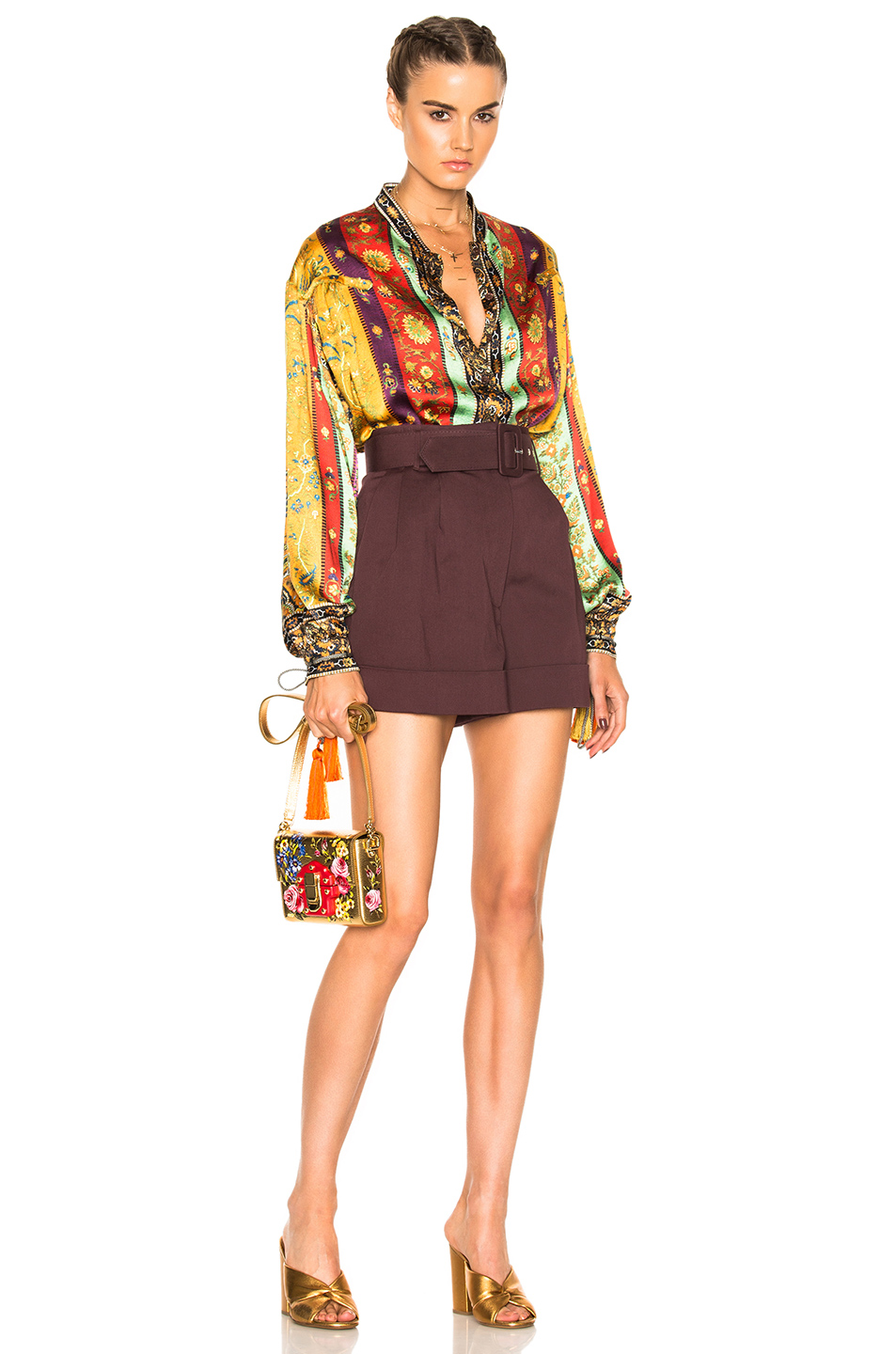 Etro Saffron Shirt in Abstract,Green,Purple,Red,Yellow