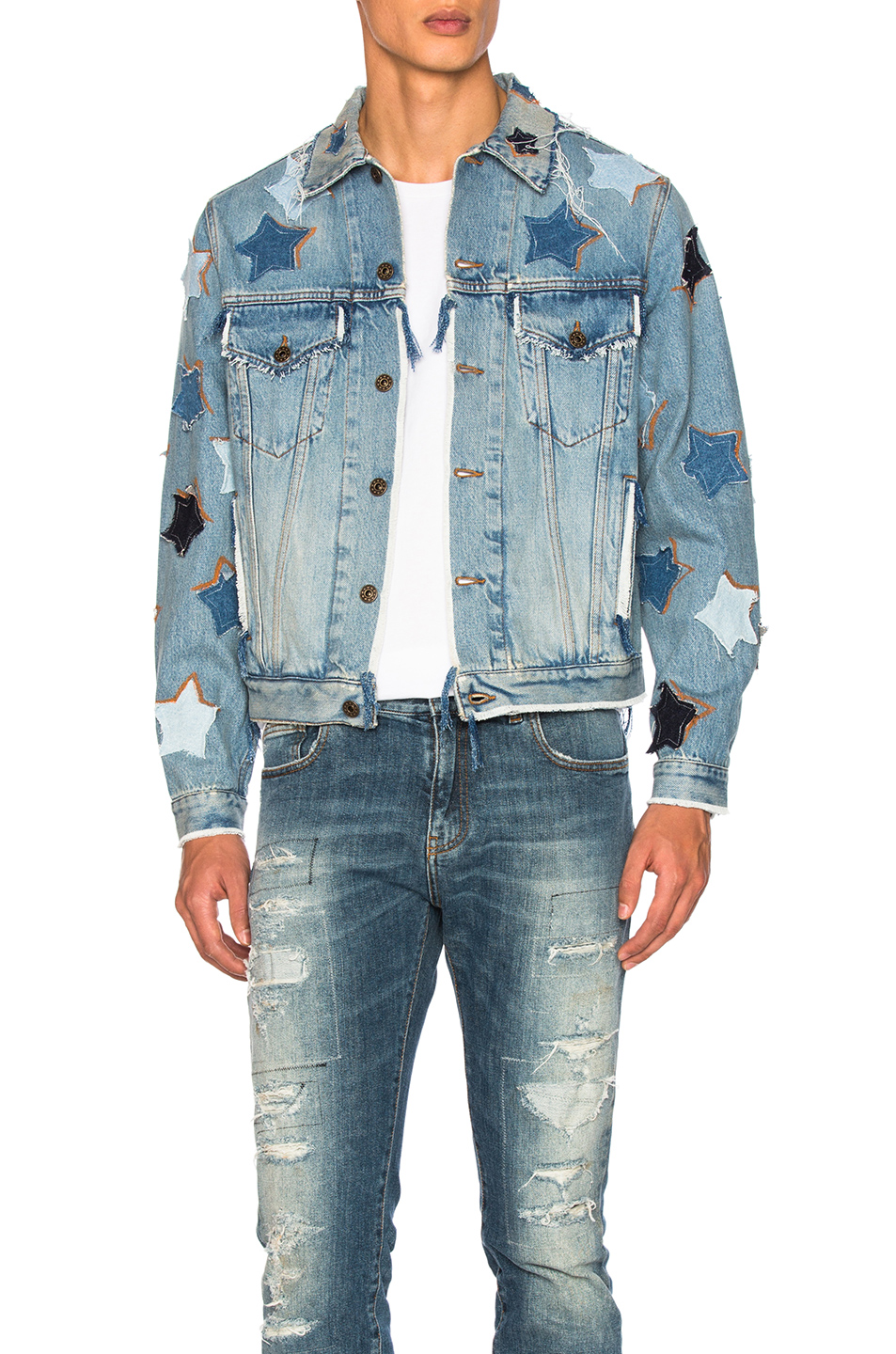 Faith Connexion Bleach Denim Jacket in Blue