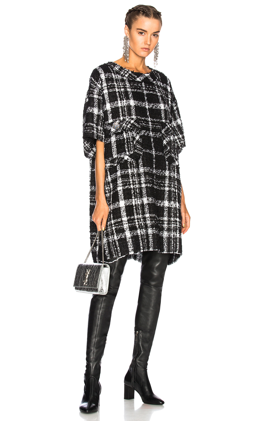 Faith Connexion Oversize Dress in Black,Checkered & Plaid