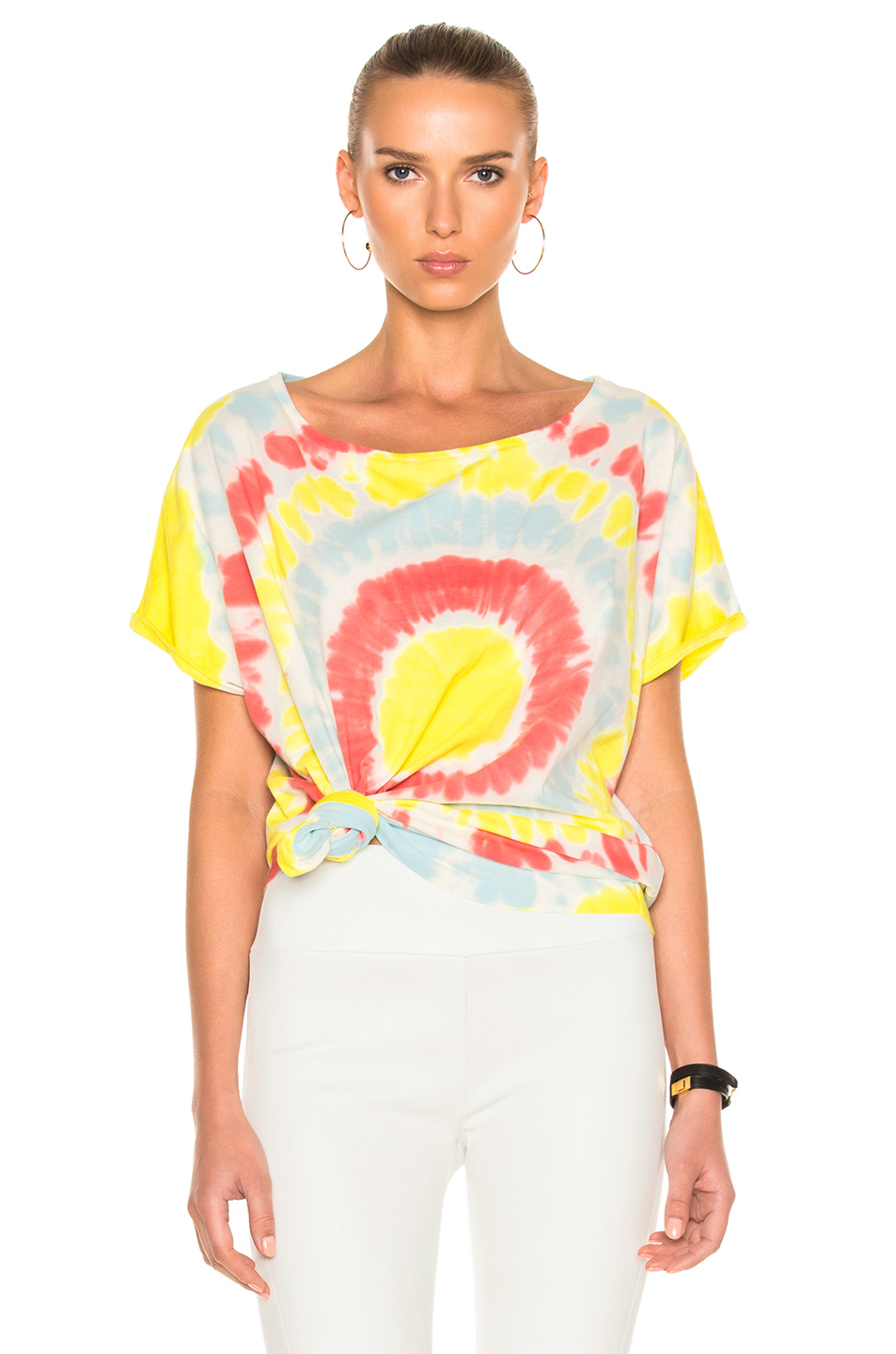 Faith Connexion Tie Dye Crop Top in Abstract,Blue,Ombre & Tie Dye,Red,Yellow