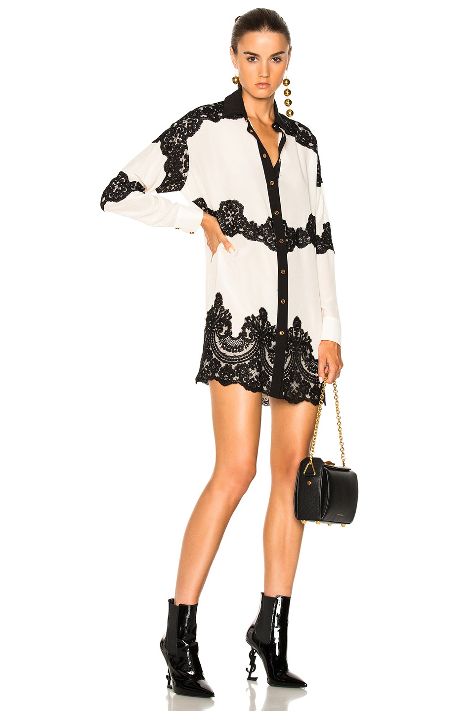 Fausto Puglisi Dress with Lace Detail in Black,Neutrals