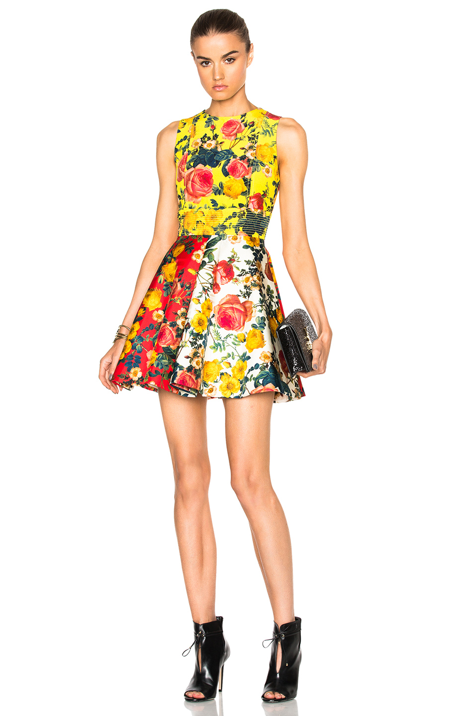 Fausto Puglisi Mini Flare Dress in Yellow,Red,Floral