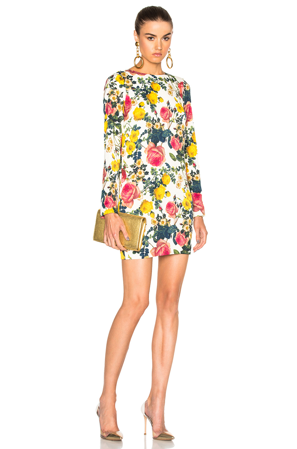Fausto Puglisi Long Sleeve Mini Dress in White,Floral