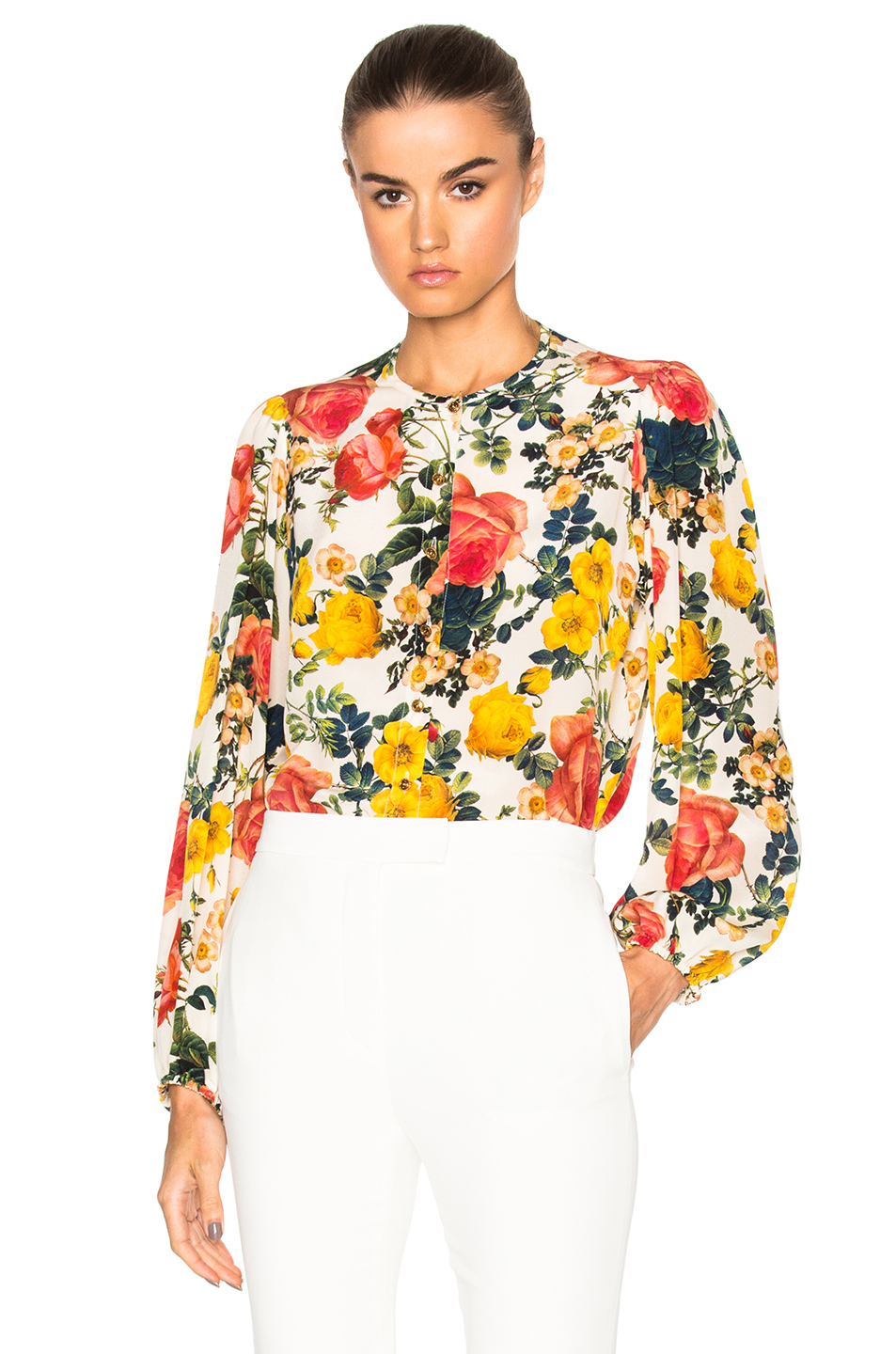 Fausto Puglisi Long Sleeve Top in White,Floral