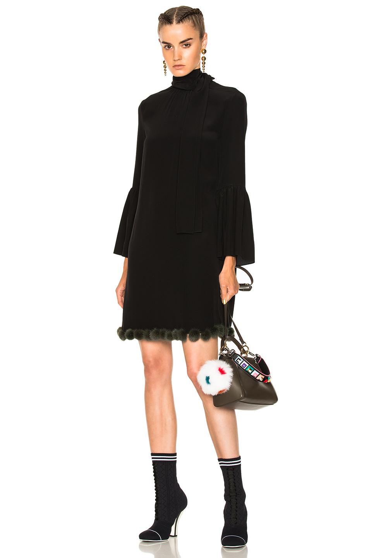 Fendi Pom Pom Trim Long Sleeve Mini Dress in Black