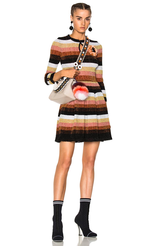 Fendi Striped Long Sleeve Sweater Dress in Metallics,Stripes,Pink,Black