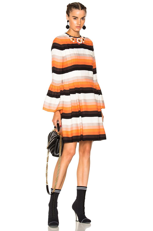 Fendi Striped Long Sleeve Mini Dress in Orange,Stripes