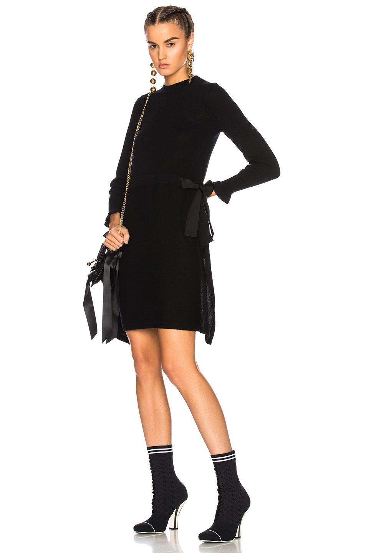 Fendi Long Sleeve Sweater Dress in Black