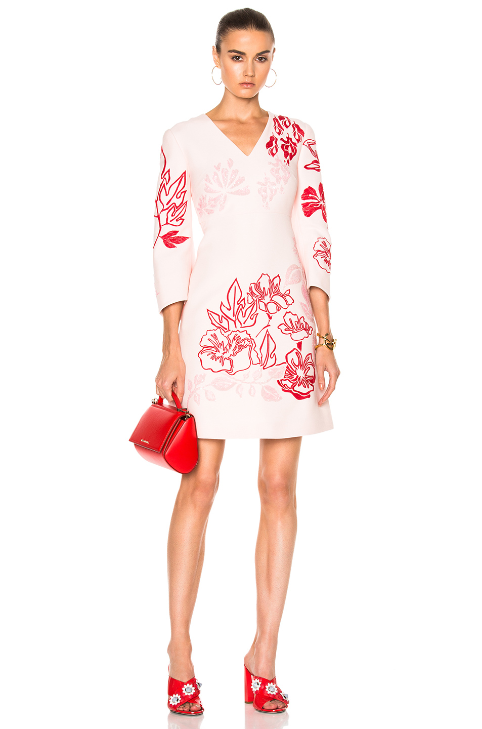 Photo of Fendi V Neck Printed Mini Dress in Pink online sales