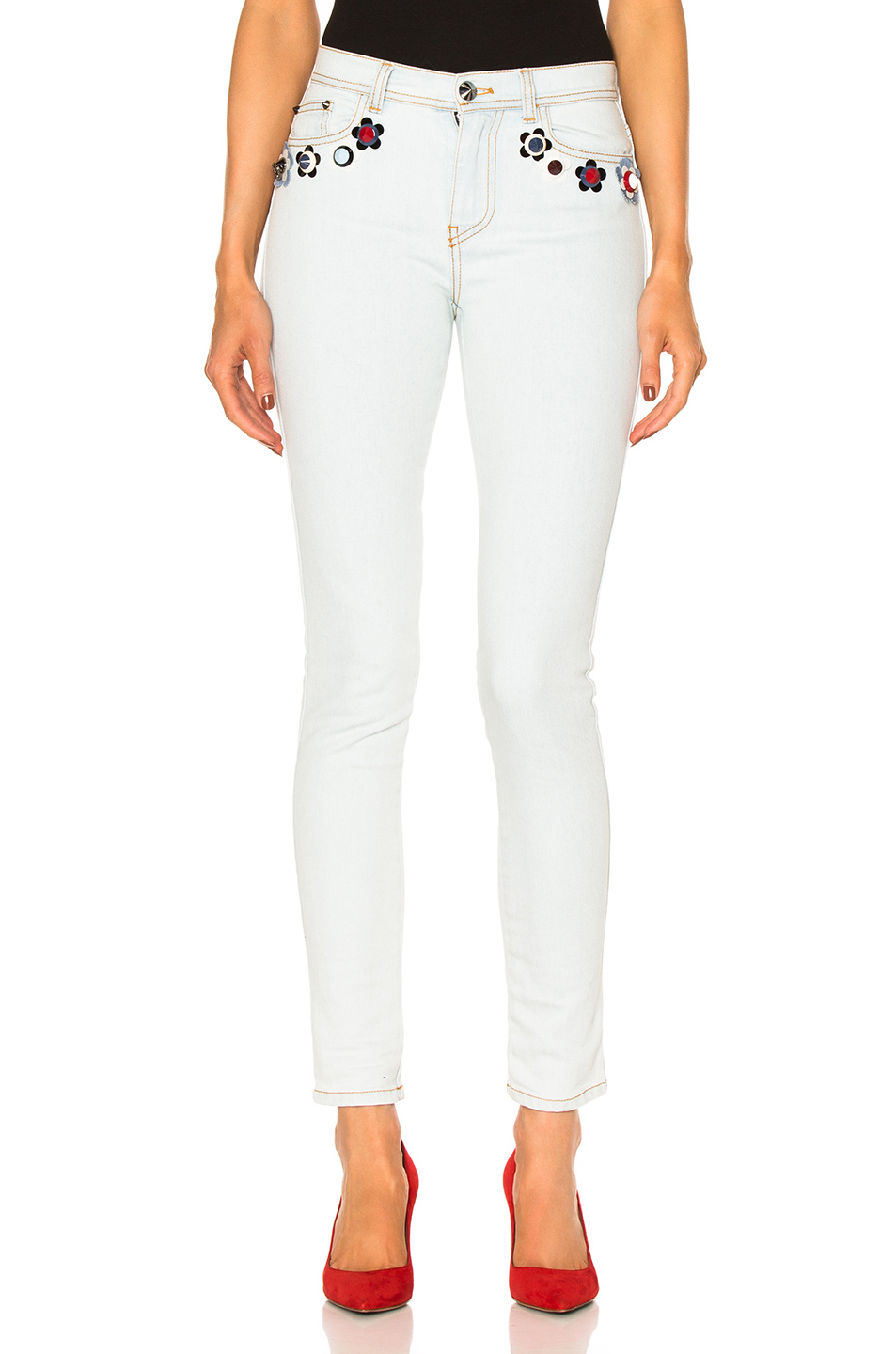 Fendi Embroidered Jeans in Blue