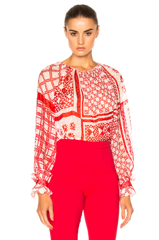 Fendi Foulard Top in Red,Geometric Print