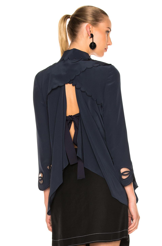 Fendi Tie Back Blouse in Blue