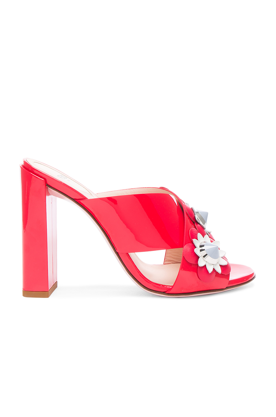 Fendi Patent Leather Crisscross Heels in Red