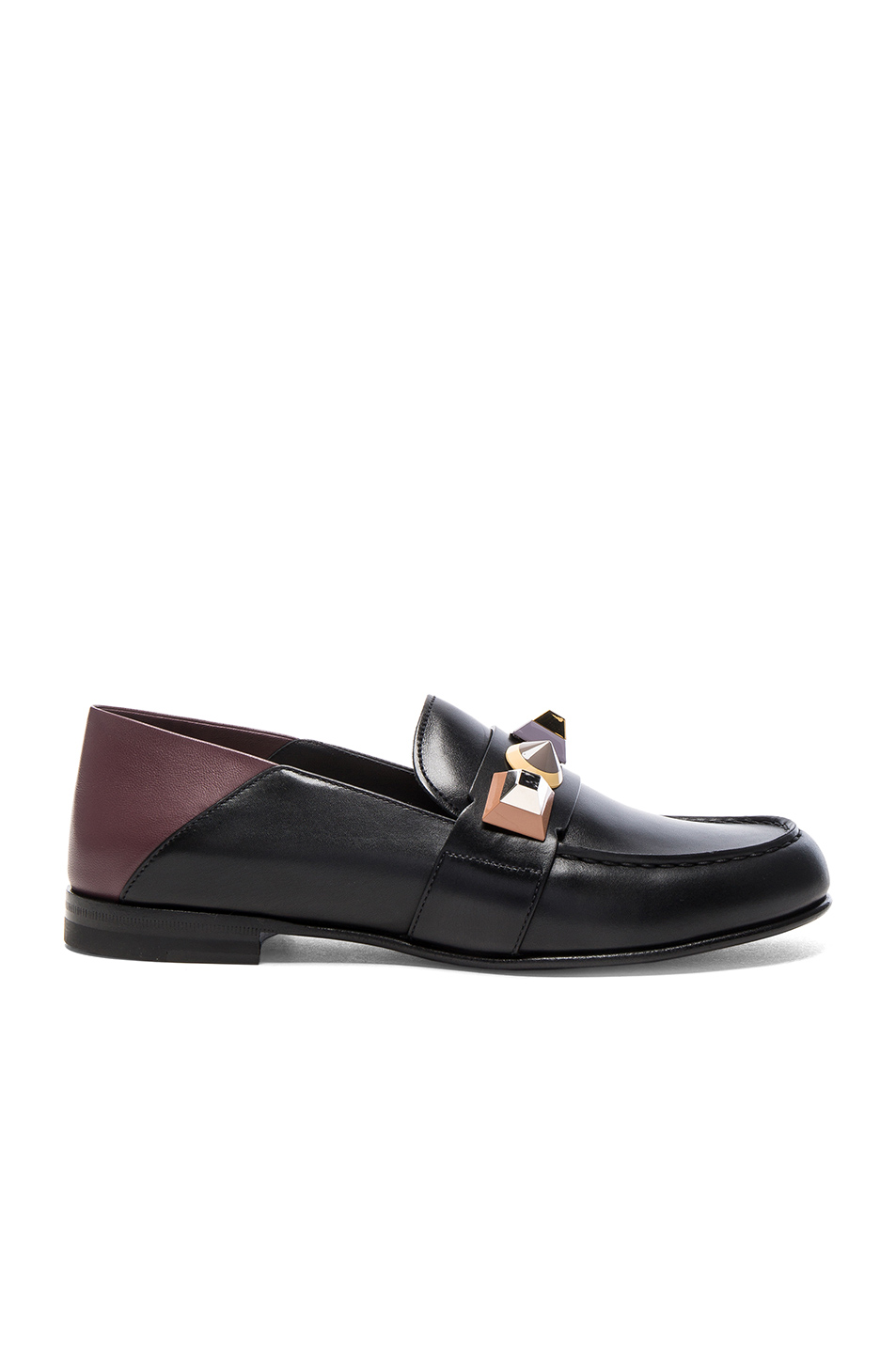 Fendi Stud Leather Loafers in Black