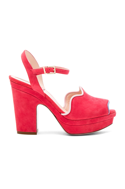 Fendi Suede Ankle Strap Heels in Pink