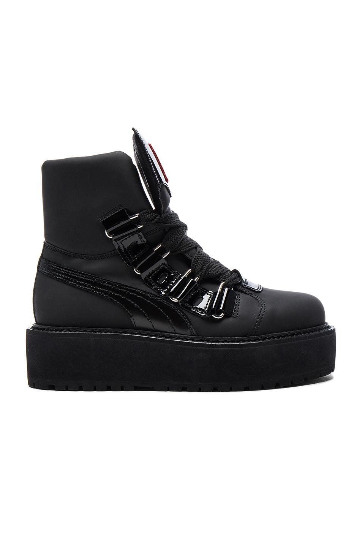 Fenty by Puma Leather Sneaker Boots in Black
