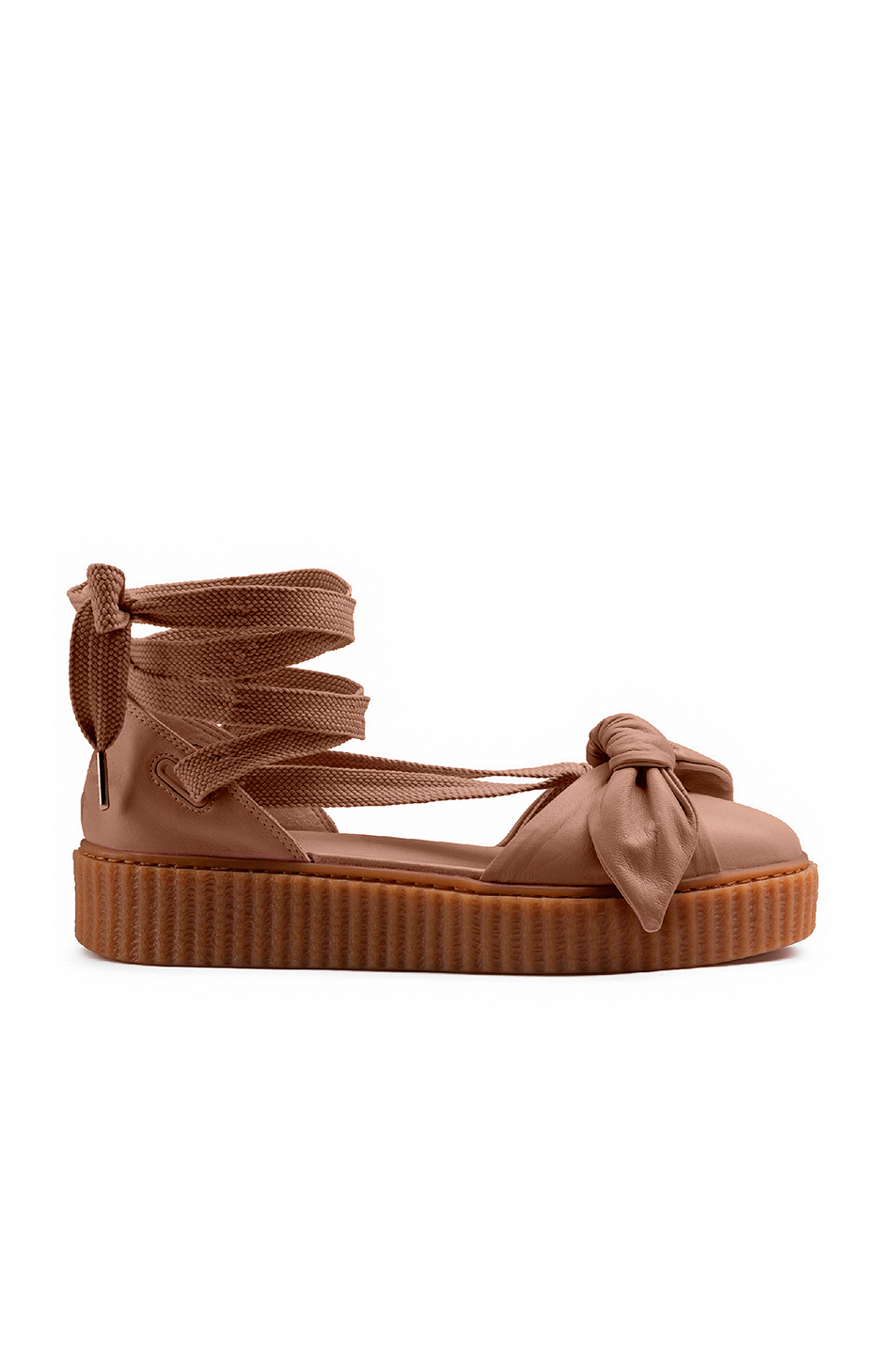 Fenty by Puma Bow Leather Creeper Sandals in Neutrals,Brown