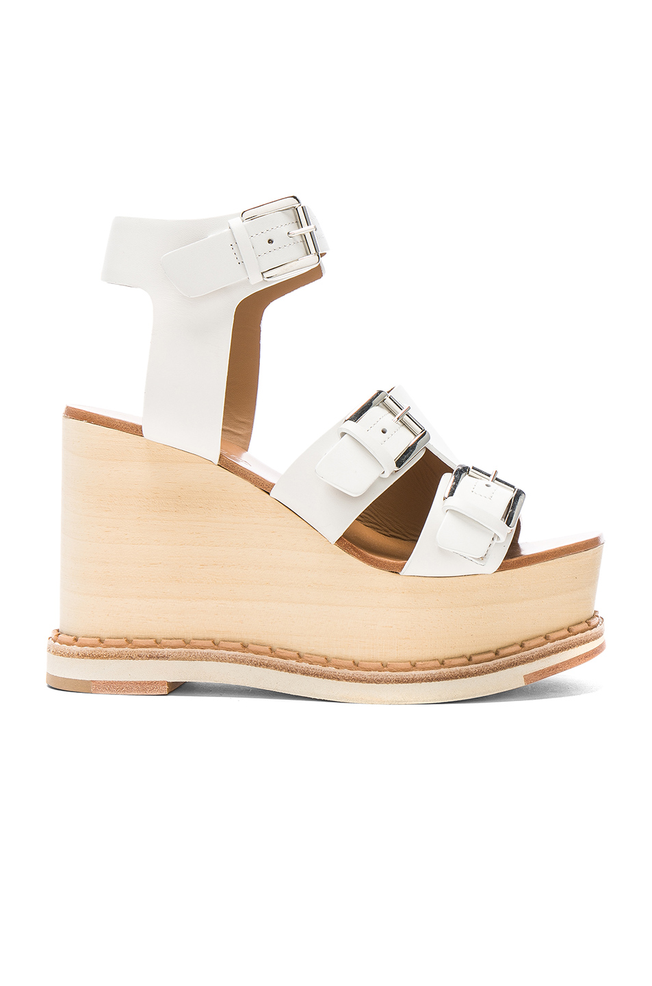 Flamingos Leather Holly Wedges in White