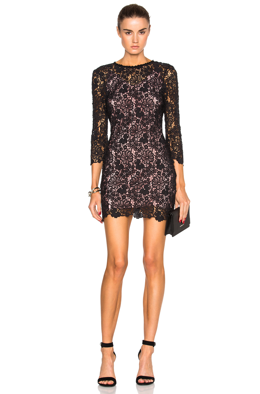 fleur du mal Guipure Lace Mini Dress in Black