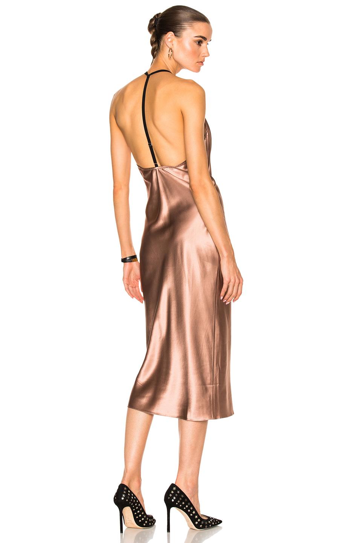fleur du mal Cowl Neck Bias Slip Dress in Neutrals,Pink
