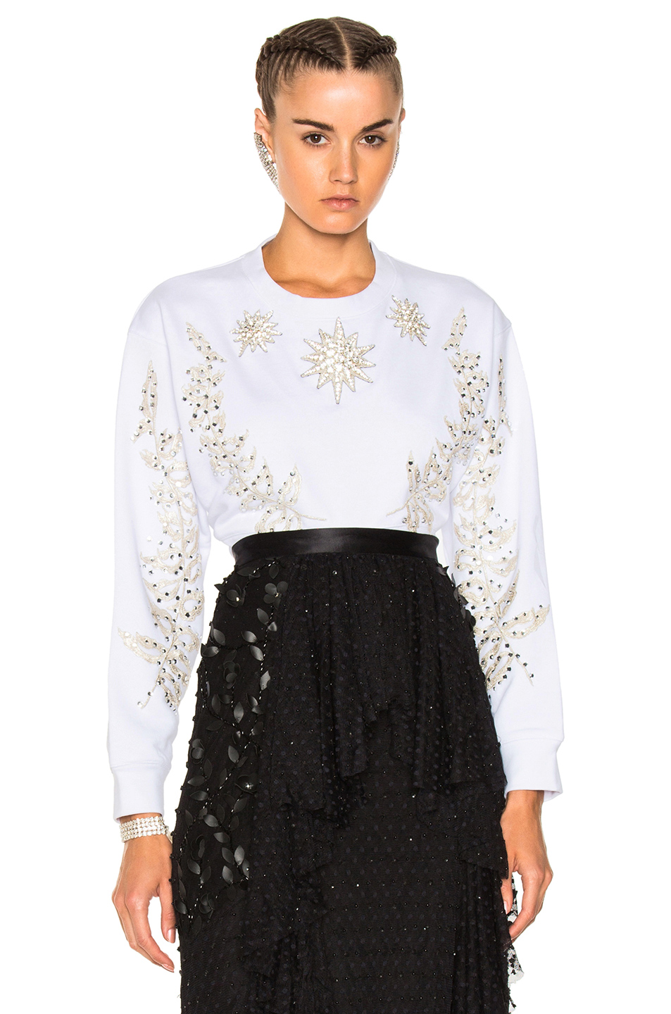 Francesco Scognamiglio Embellished Crew Neck Sweater in White