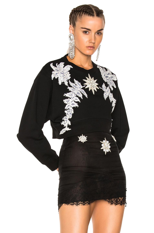 Francesco Scognamiglio Embellished Crew Neck Sweater in Black