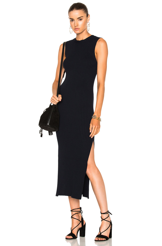 FRAME Denim Sleeveless Rib Dress in Blue