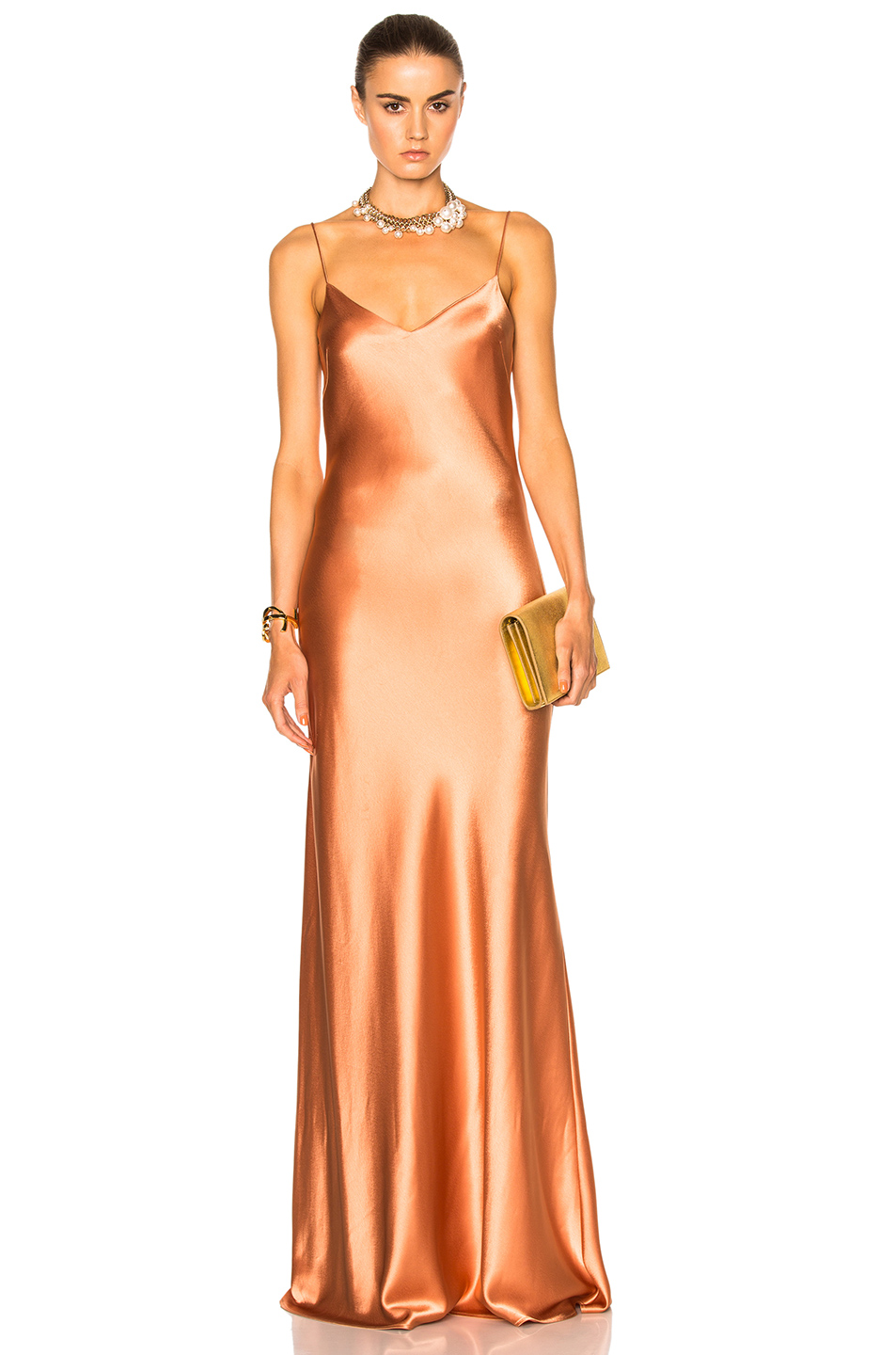 GALVAN Alcazar V-Neck Dress in Orange