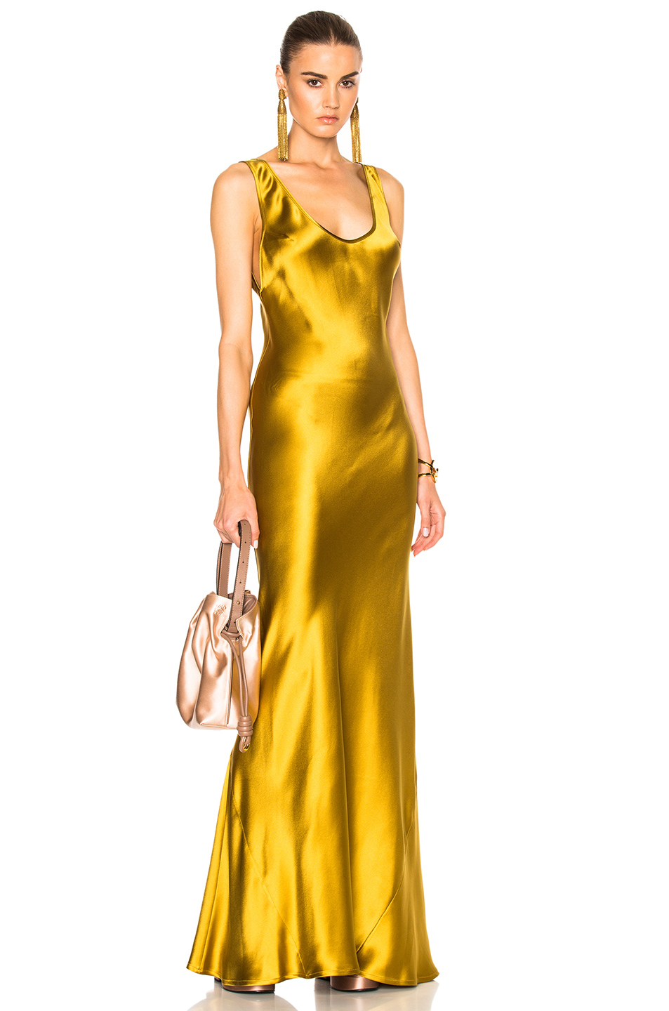 GALVAN Signature 90s Slip Bias Dress in Metallics,Yellow
